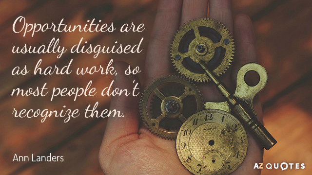 Ann Landers quote: Opportunities are usually disguised as hard work, so most people don't recognize them.