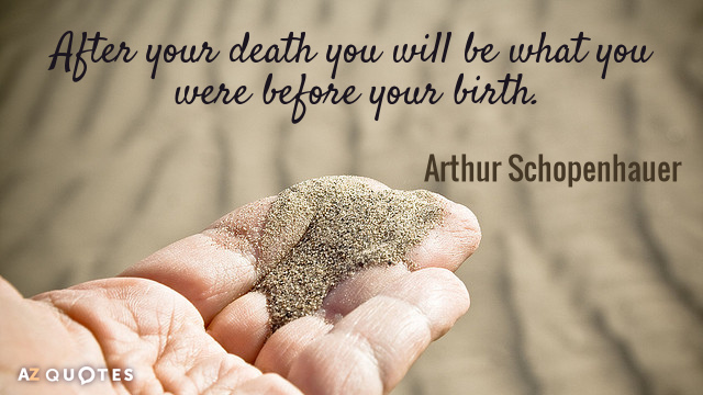 Arthur Schopenhauer Quote: After Your Death You Will Be What You Were  Before Your Birth