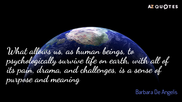 Barbara De Angelis quote: What allows us, as human beings, to psychologically survive life on earth...
