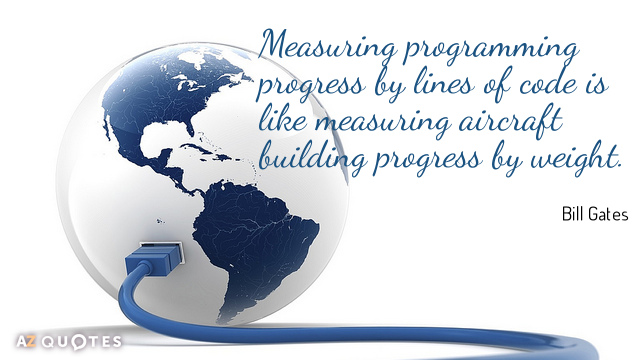 Bill Gates quote: Measuring programming progress by lines of code is like measuring aircraft building progress...