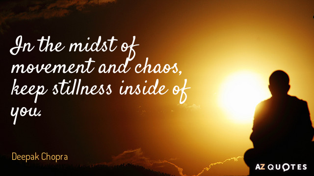 Deepak Chopra quote: In the midst of movement and chaos, keep stillness inside of you.