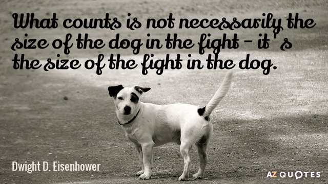 Dwight D. Eisenhower quote: What counts is not necessarily the size of the dog in the...
