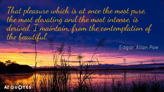 Edgar Allan Poe quote: That pleasure which is at once the most pure, the most elevating...