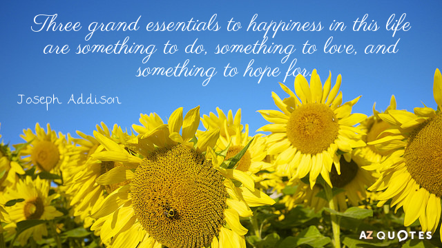 Joseph Addison quote: Three grand essentials to happiness in this life are something to do, something...