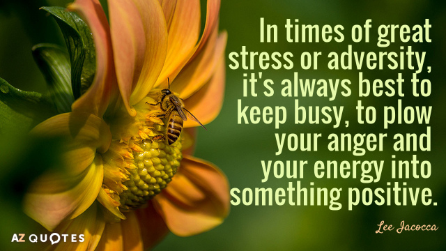 Lee Iacocca quote: In times of great stress or adversity, it's always best to keep busy...
