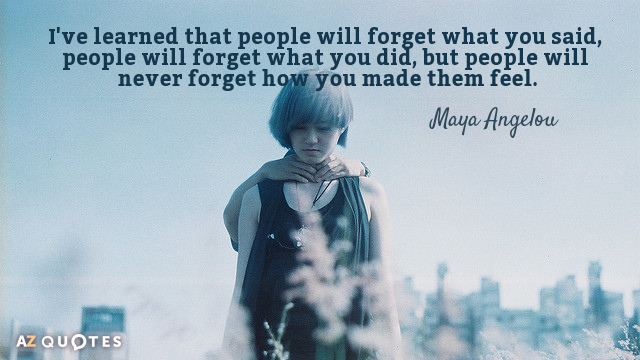 Maya Angelou quote: I've learned that people will forget what you said, people will forget what...