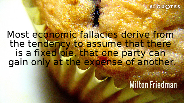 Milton Friedman quote: Most economic fallacies derive from the tendency to assume that there is a...