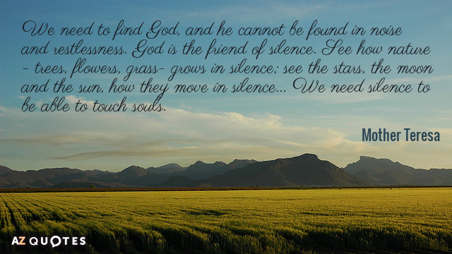 Mother Teresa quote: We need to find God, and he cannot be found in noise and...