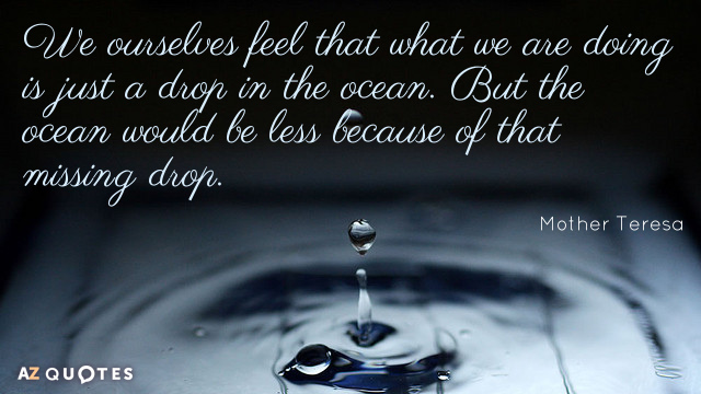 Mother Teresa quote: We ourselves feel that what we are doing is just a drop in...