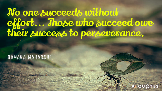 Ramana Maharshi quote: No one succeeds without effort... Those who succeed owe their success to perseverance.