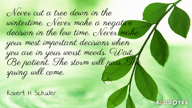 Robert H. Schuller quote: Never cut a tree down in the wintertime. Never make a negative...