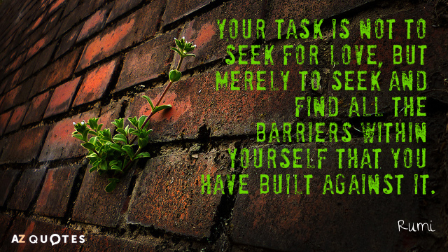 Rumi quote: Your task is not to seek for love, but merely to seek and find...
