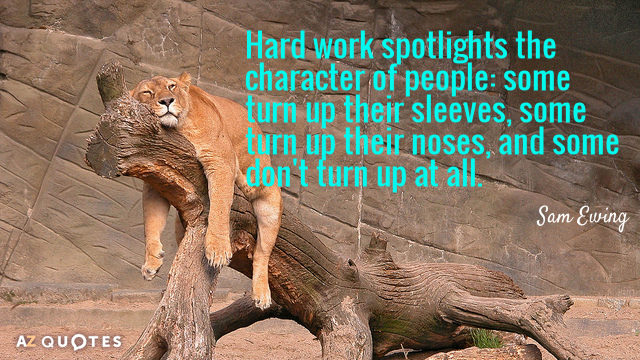 Sam Ewing quote: Hard work spotlights the character of people: some turn up their sleeves, some...