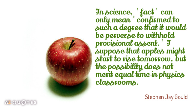 Stephen Jay Gould quote: In science, 'fact' can only mean 'confirmed to such a degree that...