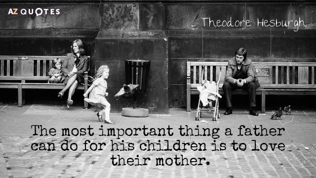 Theodore Hesburgh quote: The most important thing a father can do for his children is to...