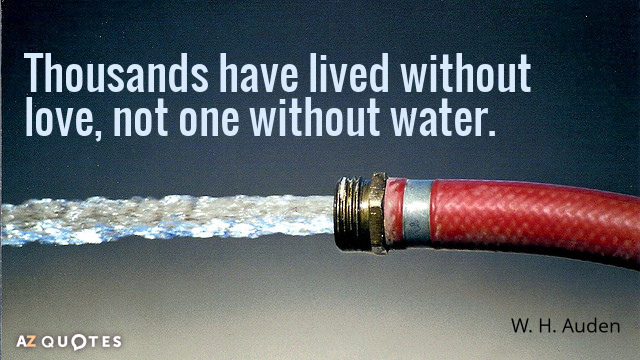 W. H. Auden quote: Thousands have lived without love, not one without water.