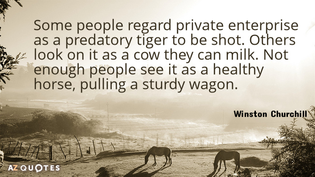 Winston Churchill quote: Some people regard private enterprise as a predatory tiger to be shot. Others...