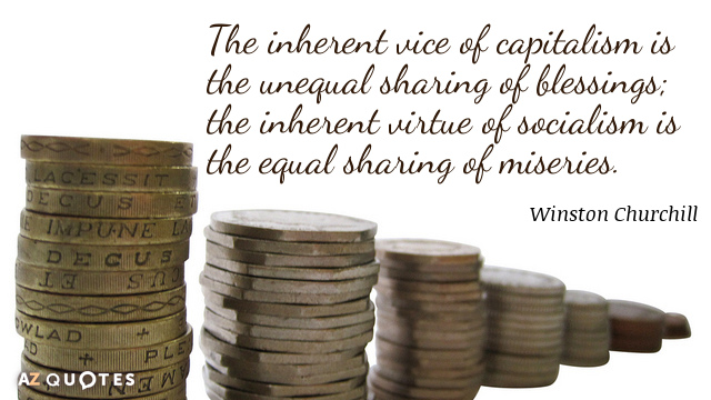 Winston Churchill quote: The inherent vice of capitalism is the unequal sharing of blessings; the inherent...