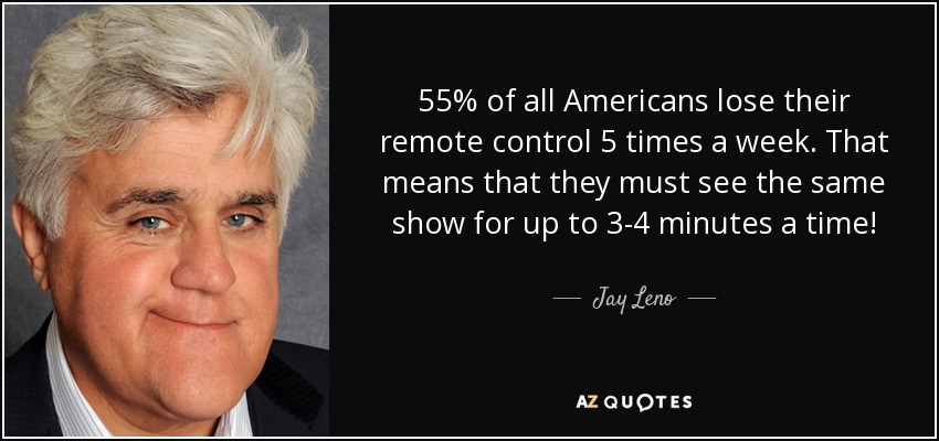 55% of all Americans lose their remote control 5 times a week. That means that they must see the same show for up to 3-4 minutes a time! - Jay Leno