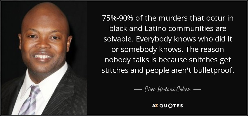 75%-90% of the murders that occur in black and Latino communities are solvable. Everybody knows who did it or somebody knows. The reason nobody talks is because snitches get stitches and people aren't bulletproof. - Cheo Hodari Coker