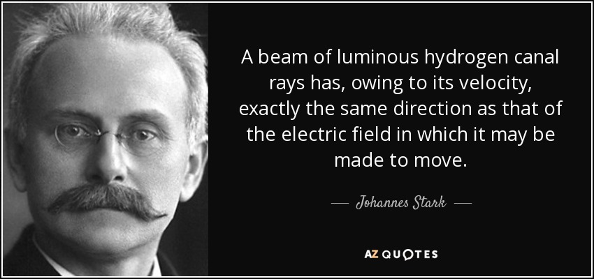 A beam of luminous hydrogen canal rays has, owing to its velocity, exactly the same direction as that of the electric field in which it may be made to move. - Johannes Stark