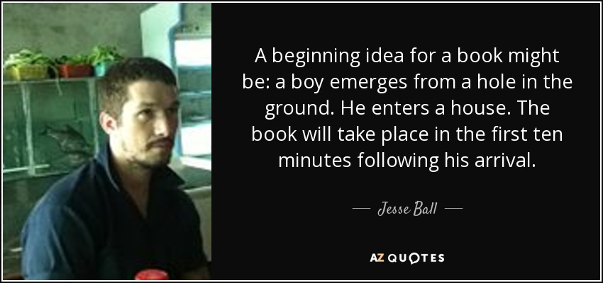 A beginning idea for a book might be: a boy emerges from a hole in the ground. He enters a house. The book will take place in the first ten minutes following his arrival. - Jesse Ball