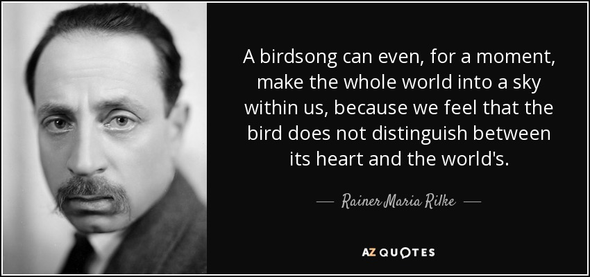 A birdsong can even, for a moment, make the whole world into a sky within us, because we feel that the bird does not distinguish between its heart and the world's. - Rainer Maria Rilke