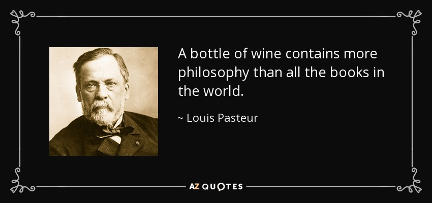 A bottle of wine contains more philosophy than all the books in the world. - Louis Pasteur