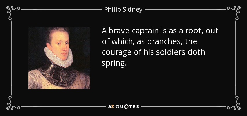 A brave captain is as a root, out of which, as branches, the courage of his soldiers doth spring. - Philip Sidney