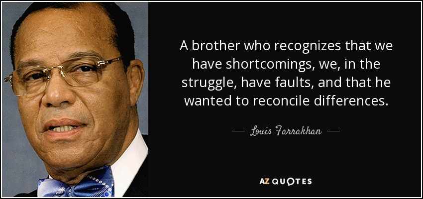 A brother who recognizes that we have shortcomings, we, in the struggle, have faults, and that he wanted to reconcile differences. - Louis Farrakhan