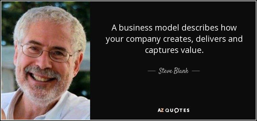 A business model describes how your company creates, delivers and captures value. - Steve Blank