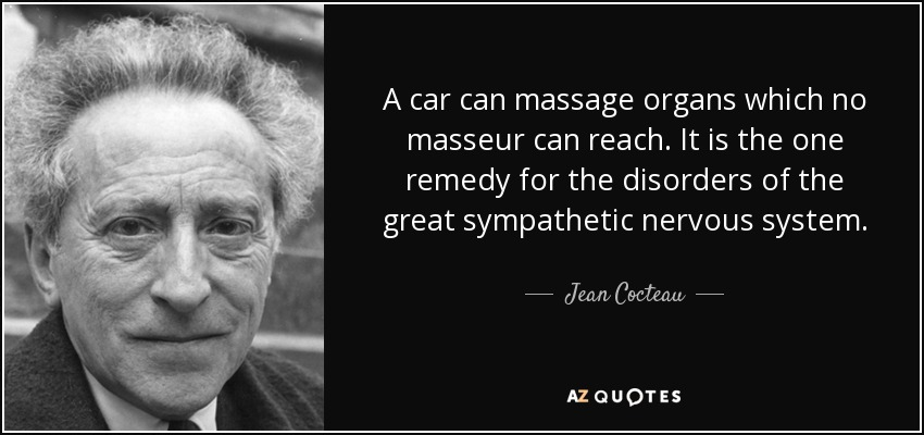 A car can massage organs which no masseur can reach. It is the one remedy for the disorders of the great sympathetic nervous system. - Jean Cocteau