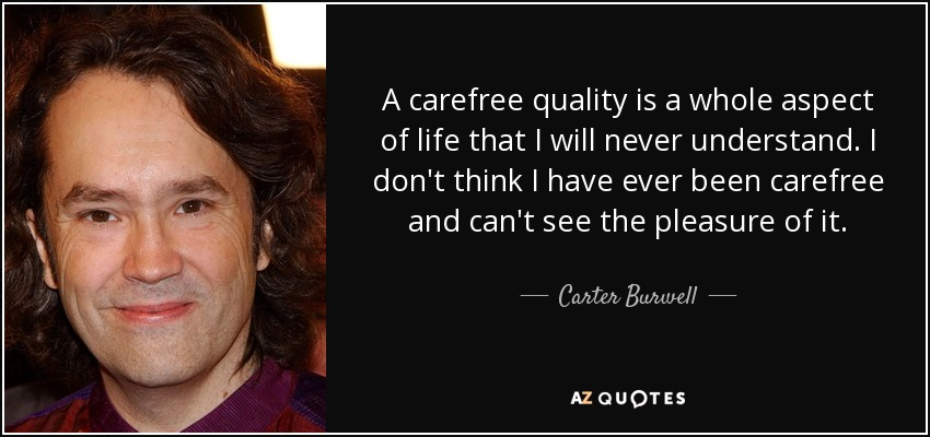 A carefree quality is a whole aspect of life that I will never understand. I don't think I have ever been carefree and can't see the pleasure of it. - Carter Burwell