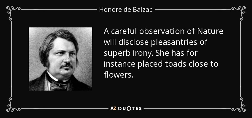 A careful observation of Nature will disclose pleasantries of superb irony. She has for instance placed toads close to flowers. - Honore de Balzac