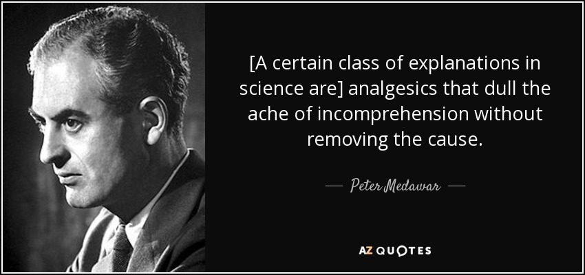 [A certain class of explanations in science are] analgesics that dull the ache of incomprehension without removing the cause. - Peter Medawar