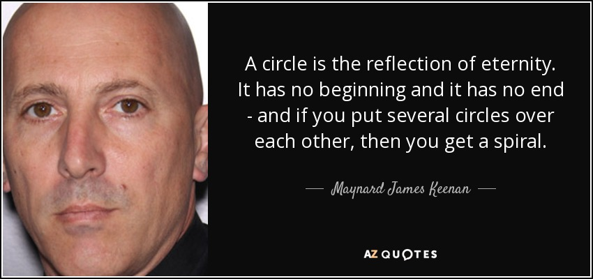 A circle is the reflection of eternity. It has no beginning and it has no end - and if you put several circles over each other, then you get a spiral. - Maynard James Keenan