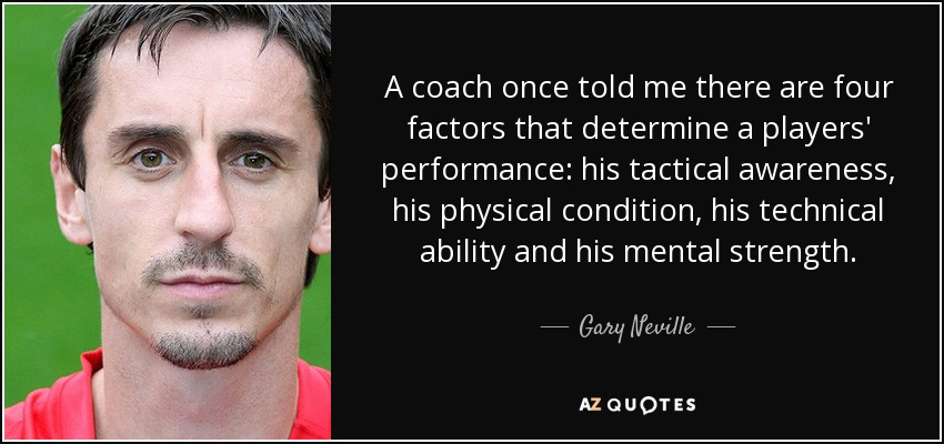 A coach once told me there are four factors that determine a players' performance: his tactical awareness, his physical condition, his technical ability and his mental strength. - Gary Neville