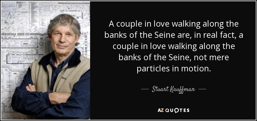 A couple in love walking along the banks of the Seine are, in real fact, a couple in love walking along the banks of the Seine, not mere particles in motion. - Stuart Kauffman