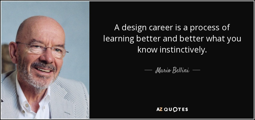 A design career is a process of learning better and better what you know instinctively. - Mario Bellini