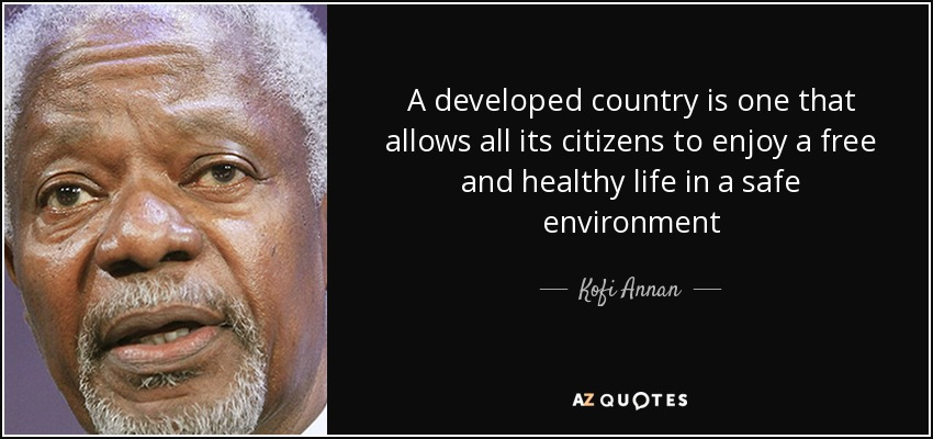 A developed country is one that allows all its citizens to enjoy a free and healthy life in a safe environment - Kofi Annan