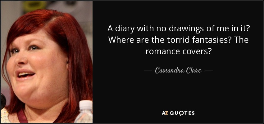 A diary with no drawings of me in it? Where are the torrid fantasies? The romance covers? - Cassandra Clare