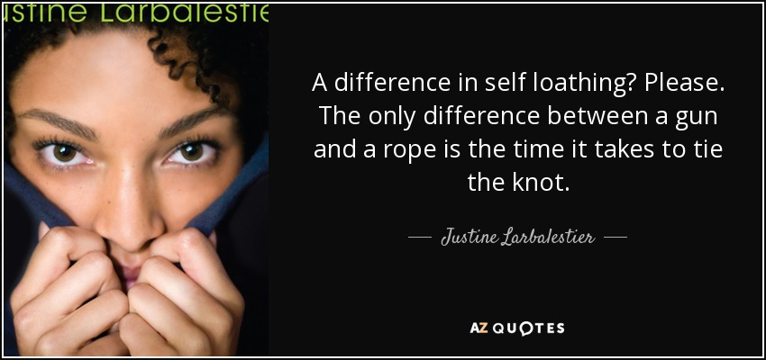 A difference in self loathing? Please. The only difference between a gun and a rope is the time it takes to tie the knot. - Justine Larbalestier