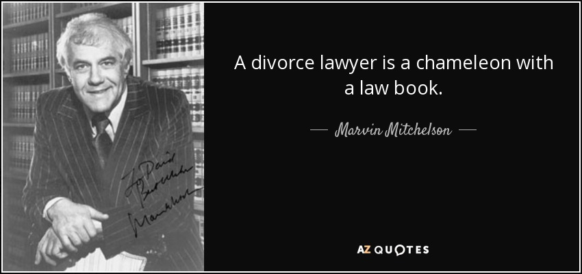 A divorce lawyer is a chameleon with a law book. - Marvin Mitchelson