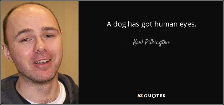 A dog has got human eyes. - Karl Pilkington