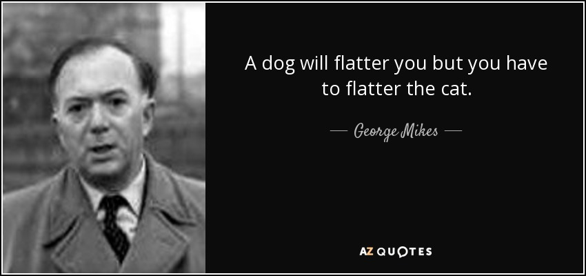 A dog will flatter you but you have to flatter the cat. - George Mikes