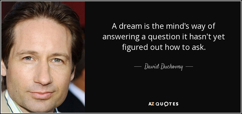 A dream is the mind's way of answering a question it hasn't yet figured out how to ask. - David Duchovny