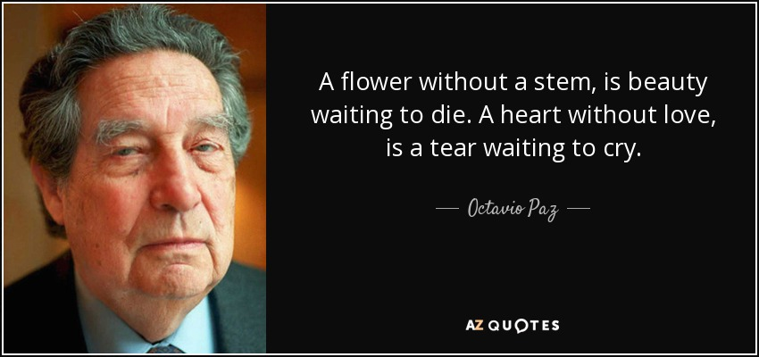 A flower without a stem, is beauty waiting to die. A heart without love, is a tear waiting to cry. - Octavio Paz