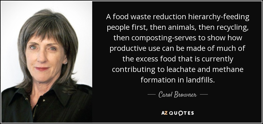 A food waste reduction hierarchy-feeding people first, then animals, then recycling, then composting-serves to show how productive use can be made of much of the excess food that is currently contributing to leachate and methane formation in landfills. - Carol Browner