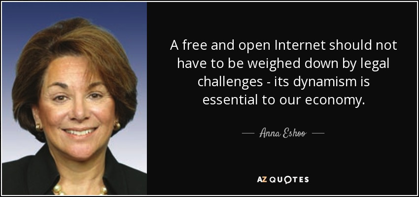 A free and open Internet should not have to be weighed down by legal challenges - its dynamism is essential to our economy. - Anna Eshoo
