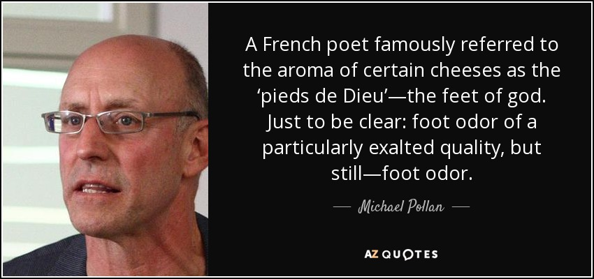A French poet famously referred to the aroma of certain cheeses as the 'pieds de Dieu'—the feet of god. Just to be clear: foot odor of a particularly exalted quality, but still—foot odor. - Michael Pollan